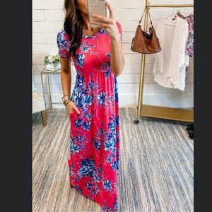 NWT Vanilla Bay pink floral pocket maxi dress